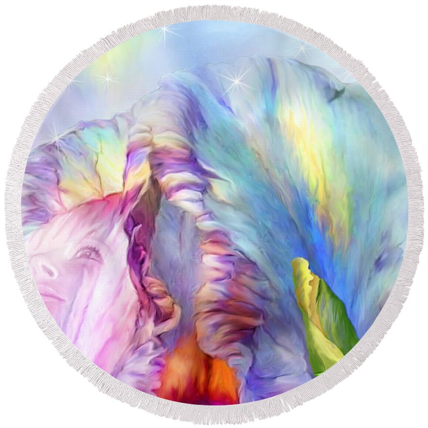 Iris Round Beach Towel featuring the mixed media Celestial Goddesses by Carol Cavalaris