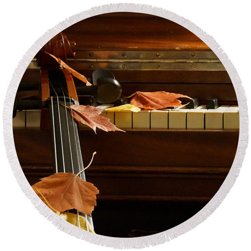 Cello Round Beach Towel featuring the photograph Cello Autumn 2 by Mick Anderson