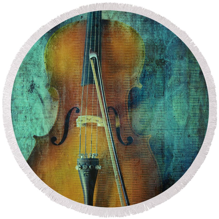 Cello Round Beach Towel featuring the photograph Cello by Erika Weber