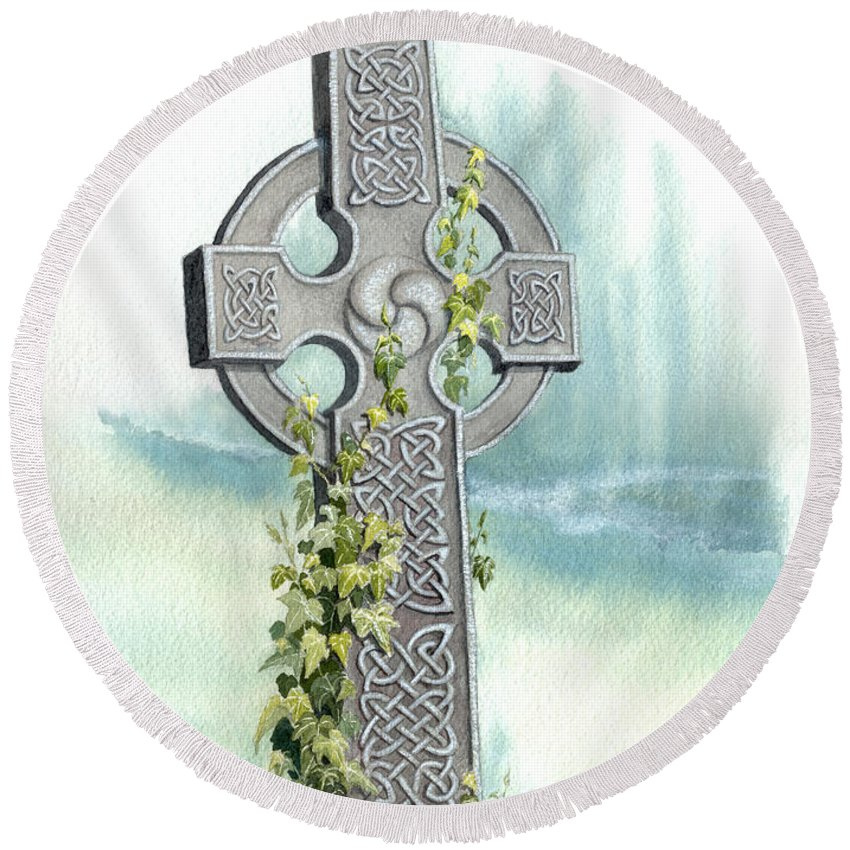 Celtic Cross Round Beach Towel featuring the painting Celtic Cross With Ivy II by Lynn Quinn