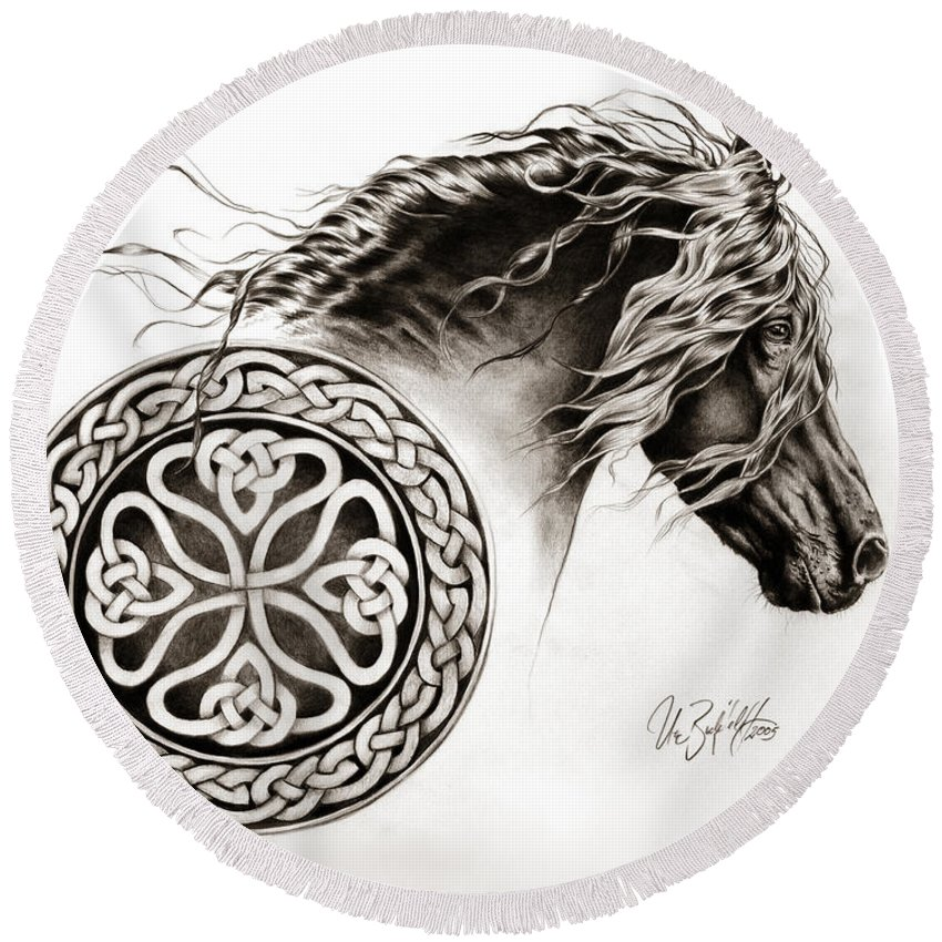 Blackhorse Round Beach Towel featuring the drawing Celtic Friesian by Art Imago