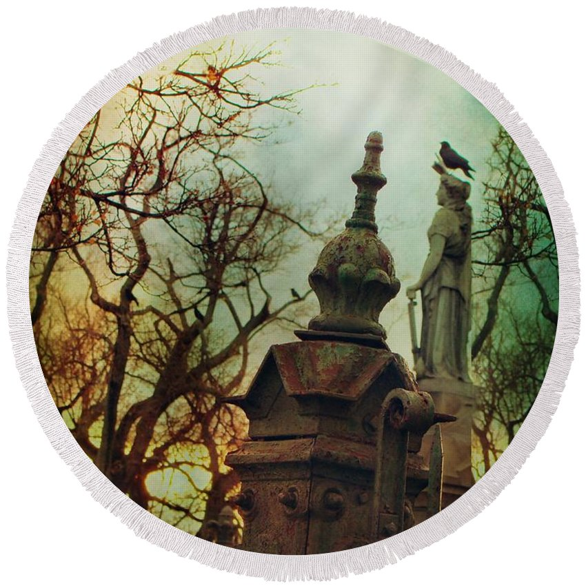 Graveyard Art Round Beach Towel featuring the photograph Cemetery Dusk by Gothicrow Images