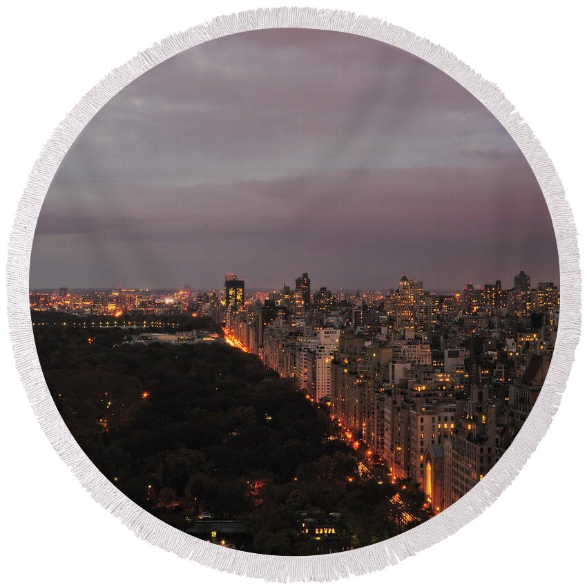 Nyc Round Beach Towel featuring the photograph Central Park Nyc Eve by Joseph Hedaya