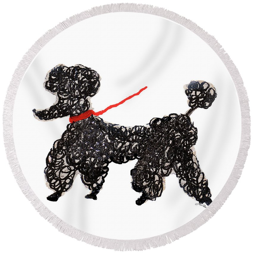 Central Round Beach Towel featuring the painting Central Park Poodle by Gina Ritter