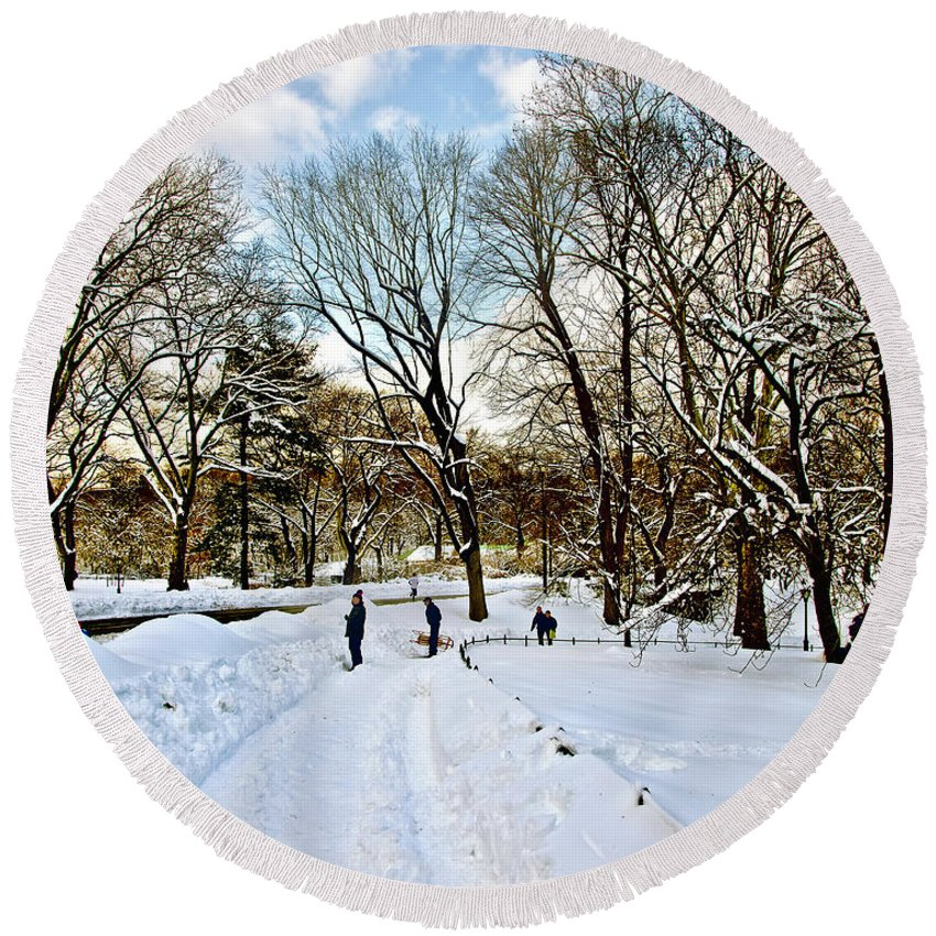 Snow Round Beach Towel featuring the photograph Central Park Snow Storm One Day Later2 by Madeline Ellis