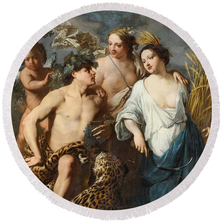 Jan Miel Round Beach Towel featuring the painting Ceres Bacchus And Venus by Jan Miel