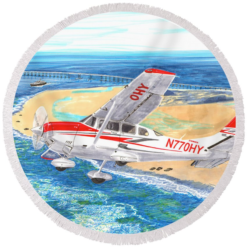 Thank You For Buying A 9 X 12 Wood Print To The Customer From Florida Round Beach Towel featuring the painting Cessna 206 Flying Over The Outer Banks by Jack Pumphrey