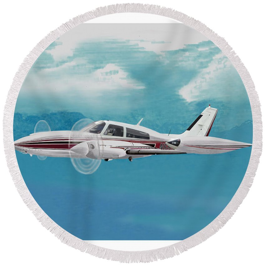 A Watercolor Painting Of The Cessna 310 Turbo-stream With Standard Engines By Lycoming Tio-540 350 Hp Engines Round Beach Towel featuring the painting Cessna 310 Twin Engine by Jack Pumphrey