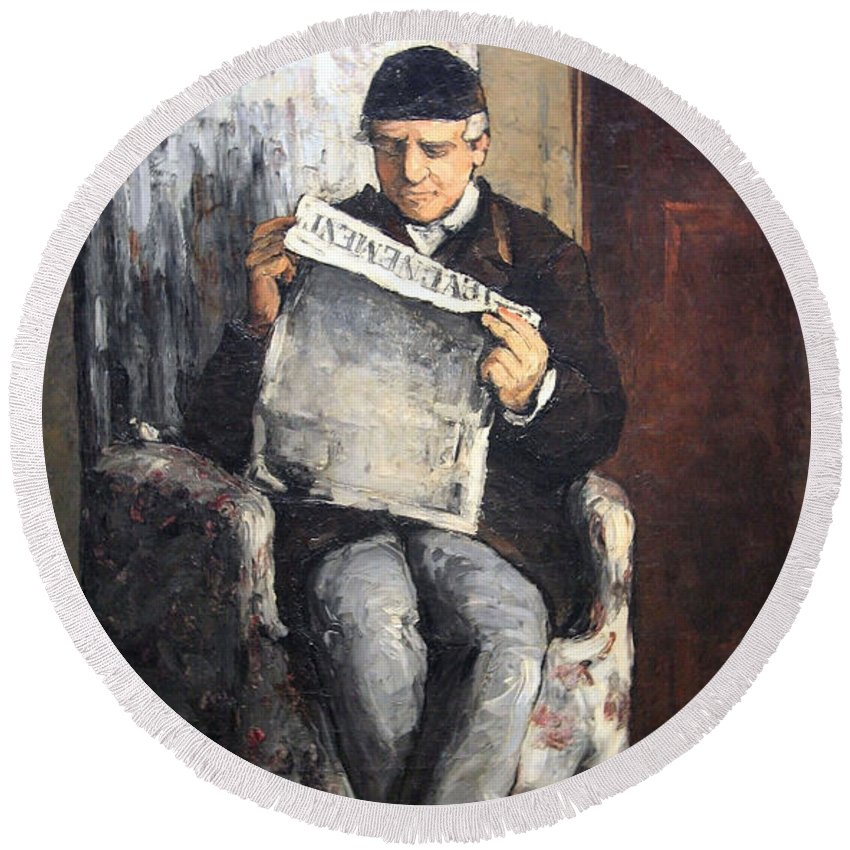 The Artist's Father Reading Le Evenement Round Beach Towel featuring the photograph Cezanne's The Artist's Father Reading Le Evenement by Cora Wandel