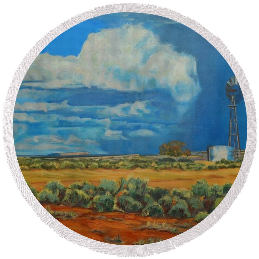 Landscape Round Beach Towel featuring the painting Chaco Storm by Celeste Drewien