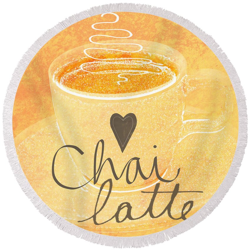 Chai Round Beach Towel featuring the painting Chai Latte Love by Linda Woods