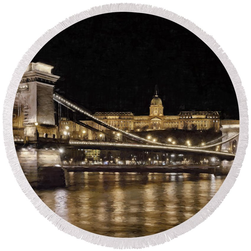 Joan Carroll Round Beach Towel featuring the photograph Chain Bridge And Buda Castle Winter Night Painterly by Joan Carroll
