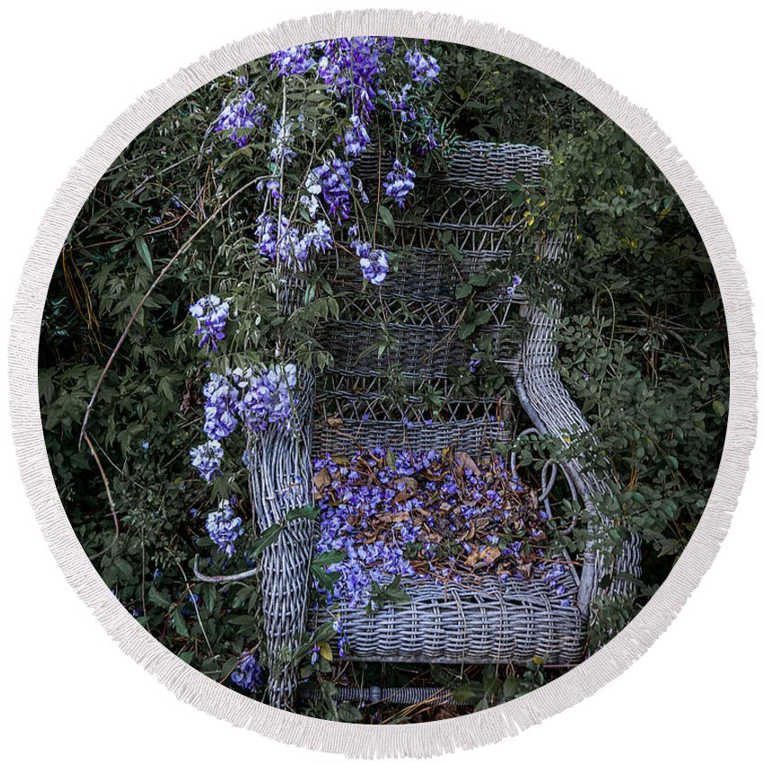 Abandoned Round Beach Towel featuring the photograph Chair And Flowers by Ken Frischkorn