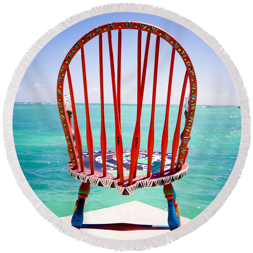 Antigua And Barbuda Round Beach Towel featuring the photograph Chair by Ferry Zievinger