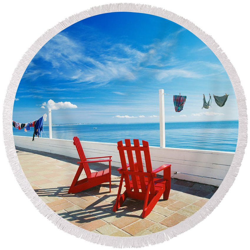 Photography Round Beach Towel featuring the photograph Chairs Cape Cod Ma by Panoramic Images