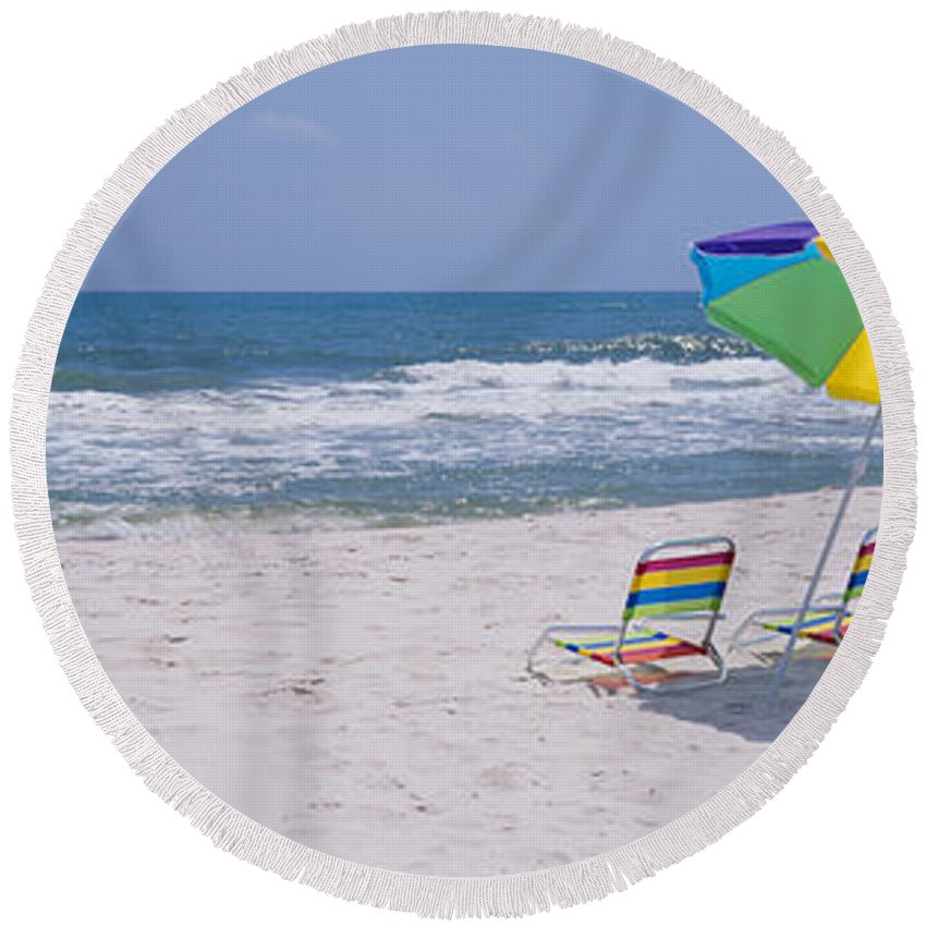 Photography Round Beach Towel featuring the photograph Chairs On The Beach, Gulf Of Mexico by Panoramic Images