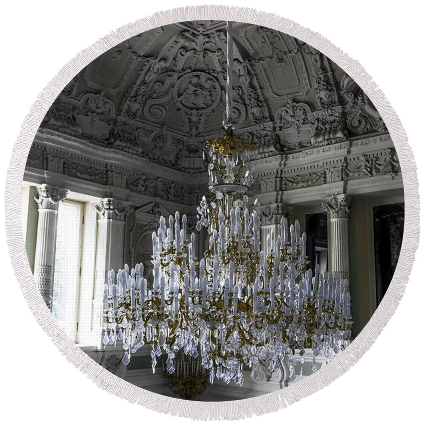 Chandelier Round Beach Towel featuring the photograph Chandelier - Yusupov Palace - Russia by Madeline Ellis