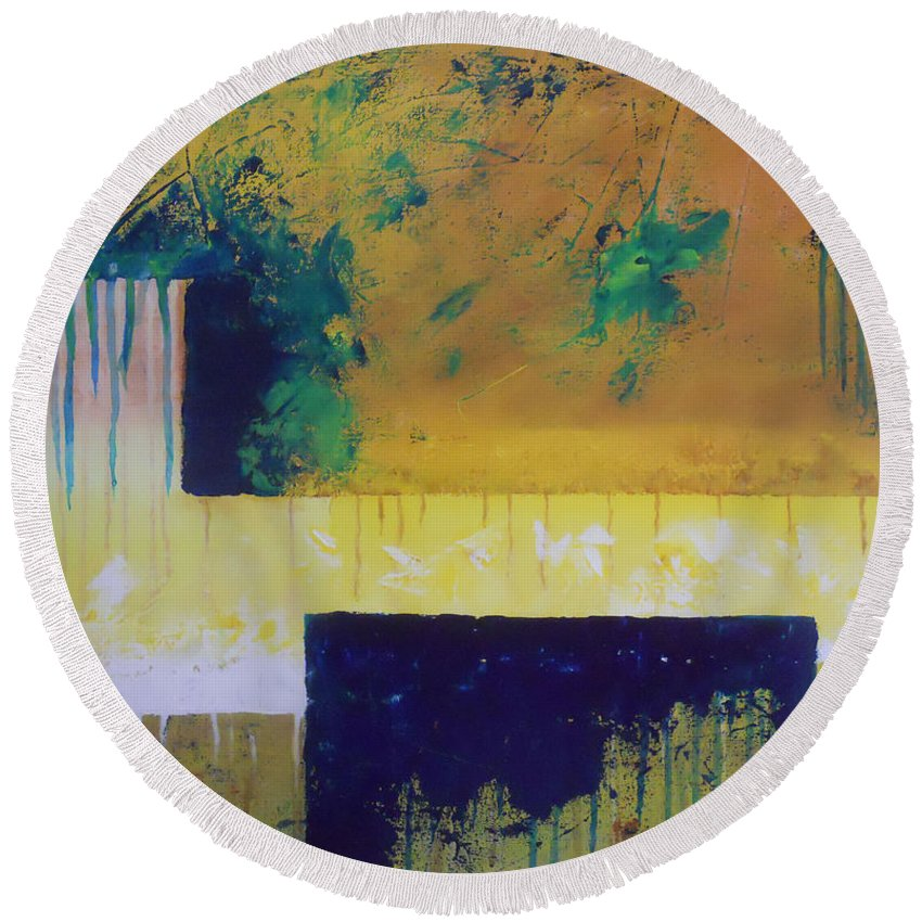 Climate Round Beach Towel featuring the painting Change #1 by Ank Draijer