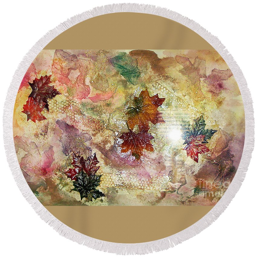 Water Color Abstract Round Beach Towel featuring the mixed media Change In You II by Yael VanGruber