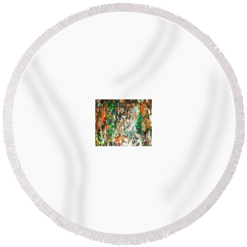 Abstract Round Beach Towel featuring the painting Changing Season by Yael VanGruber