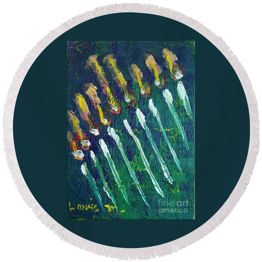 Chanukah Round Beach Towel featuring the painting Chanukiah In The Dark by Laurie Morgan