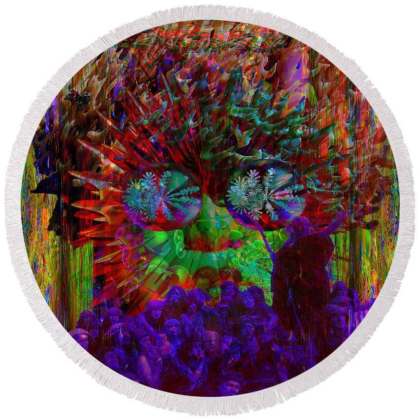 Electromagnetic Spectrum Round Beach Towel featuring the digital art Chaos by Joseph Mosley