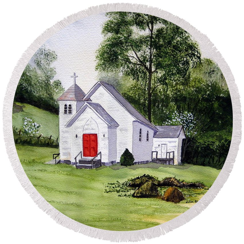 Church Round Beach Towel featuring the painting Chapel In The Mounts by Julia RIETZ