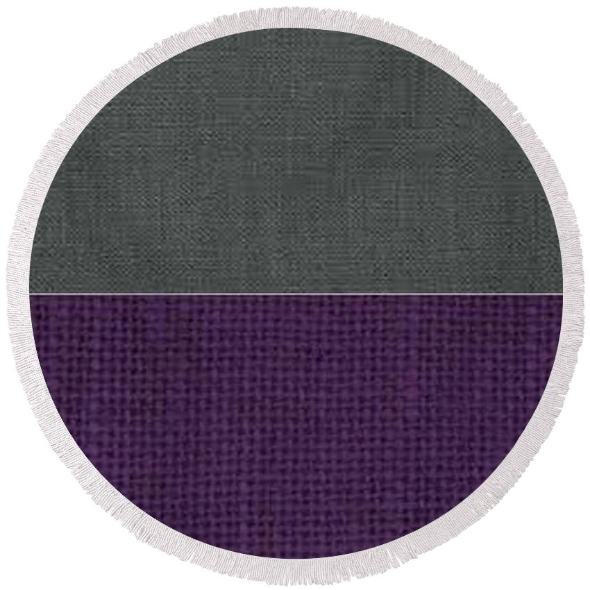 Corduroy Round Beach Towel featuring the tapestry - textile Charcoal With Purple by Margaret Ivory
