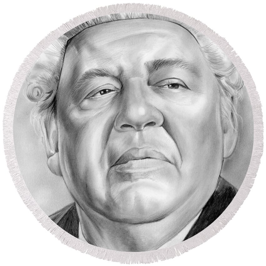 Charles Laughton Round Beach Towel featuring the drawing Charles Laughton by Greg Joens
