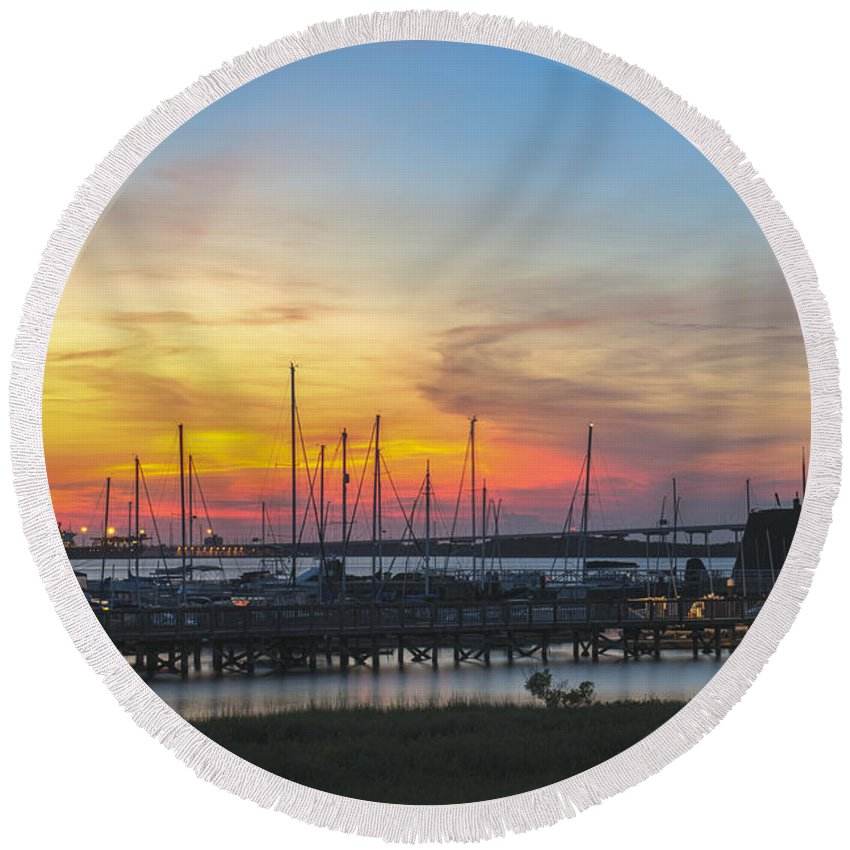 Sunset Round Beach Towel featuring the photograph Charleston Harbor Sunset by Dale Powell