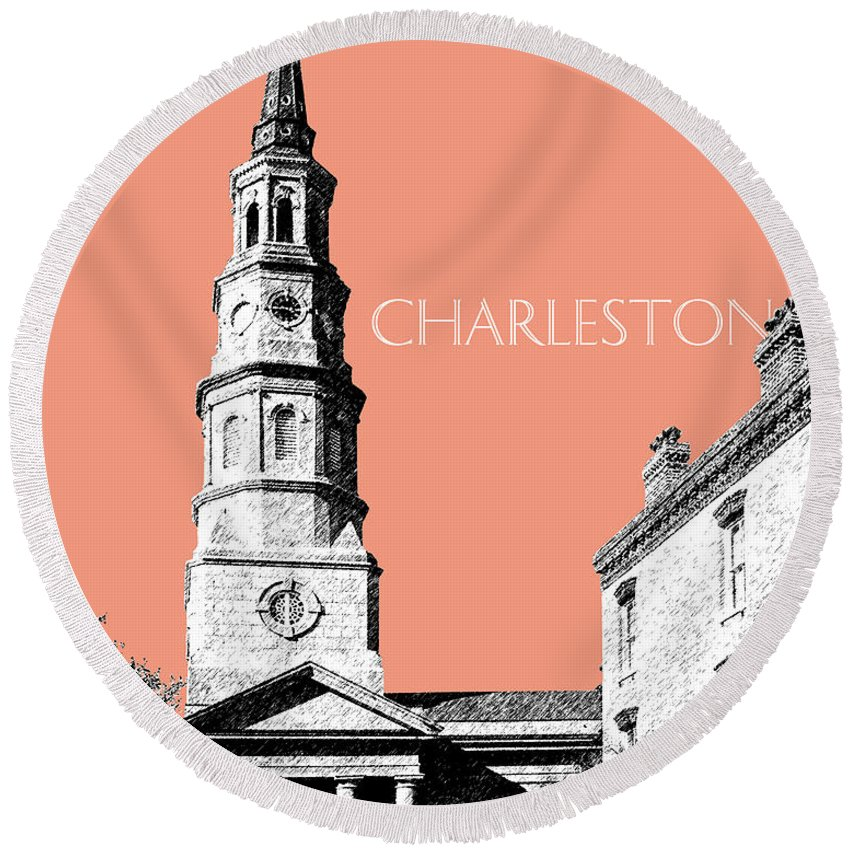 Architecture Round Beach Towel featuring the digital art Charleston St. Phillips Church - Salmon    by DB Artist