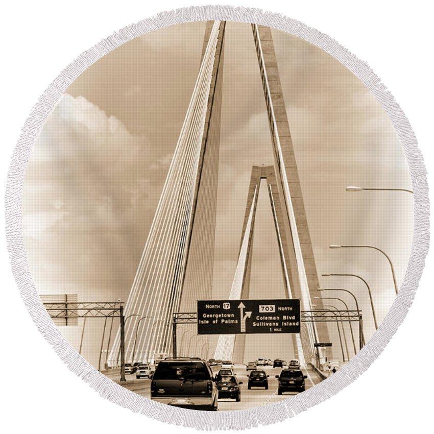 Arthur Ravenel Jr. Bridge Round Beach Towel featuring the photograph Charleston's Arthur Ravenel Jr. Bridge by Kathy Clark