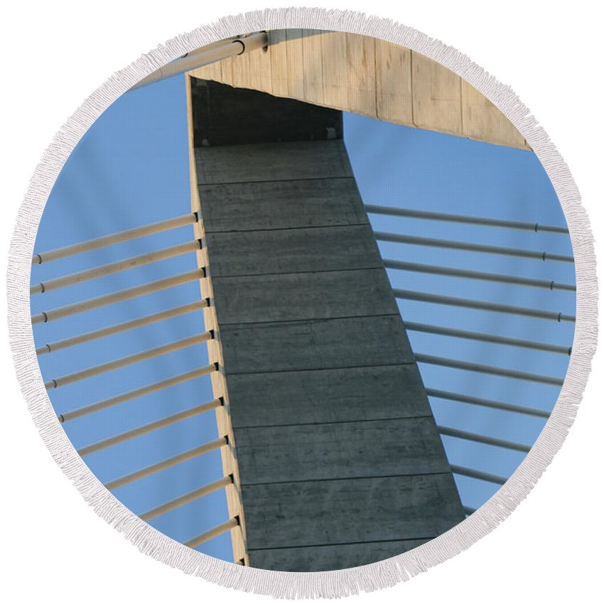 The Arthur Ravenel Jr. Bridge Round Beach Towel featuring the photograph Charleston's Cable Bridge Geometric Abstract by Kathy Clark