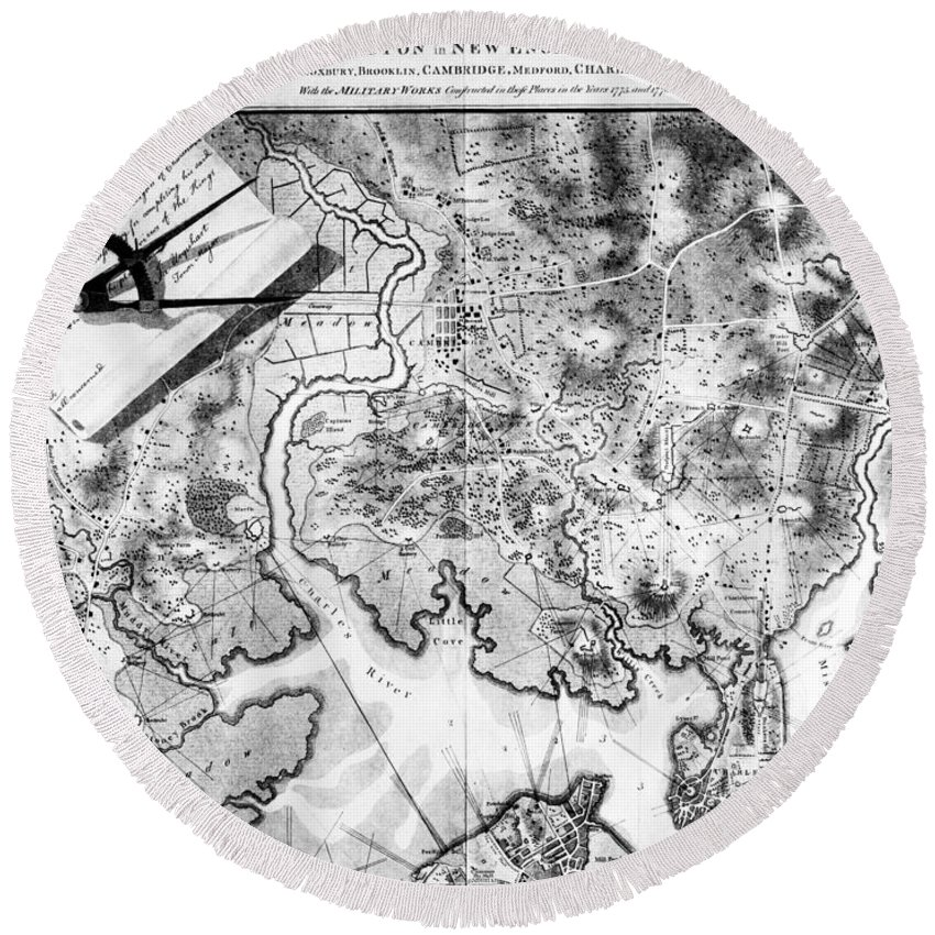 1776 Round Beach Towel featuring the photograph Charlestown: Map, 1776 by Granger