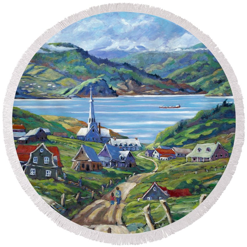 Round Beach Towel featuring the painting Charlevoix Scene by Richard T Pranke