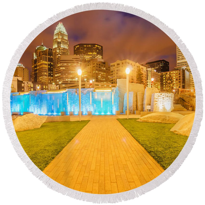 American Round Beach Towel featuring the photograph Charlotte City Skyline At Night by Alex Grichenko