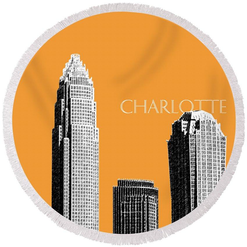 Architecture Round Beach Towel featuring the digital art Charlotte Skyline 2 - Orange by DB Artist