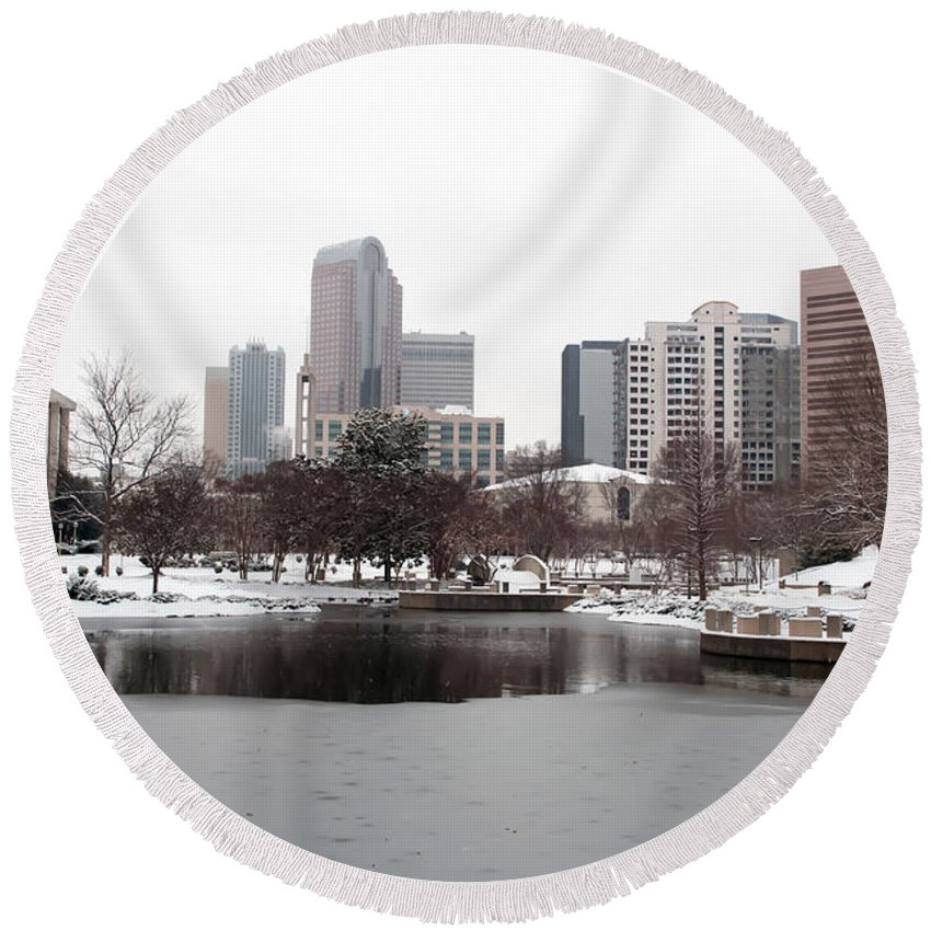 Financial Round Beach Towel featuring the photograph Charlotte Skyline In Snow by Alex Grichenko