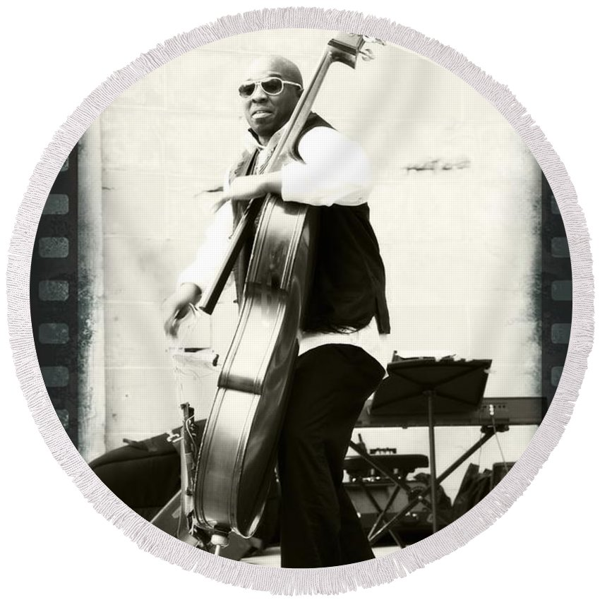 Charnett Moffett Musician Bassist Black White Filmstrip Border Round Beach Towel featuring the photograph Charnett On Film by Alice Gipson