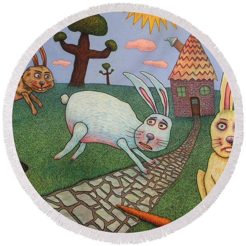 Rabbits Round Beach Towel featuring the painting Chasing Tail by James W Johnson