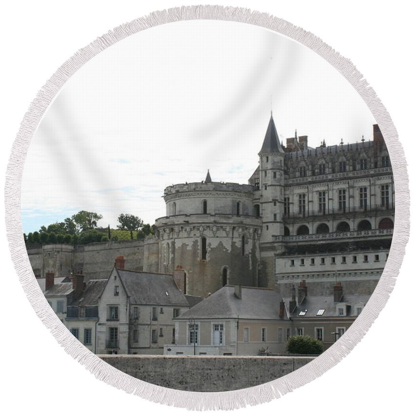 Palace Round Beach Towel featuring the photograph Chateau Ambois Rises Above Its Town by Christiane Schulze Art And Photography