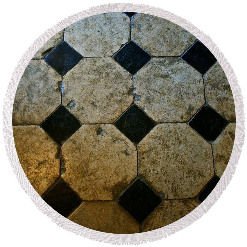 Chateau Round Beach Towel featuring the photograph Chateau Brissac's Tile Floor by Eric Tressler