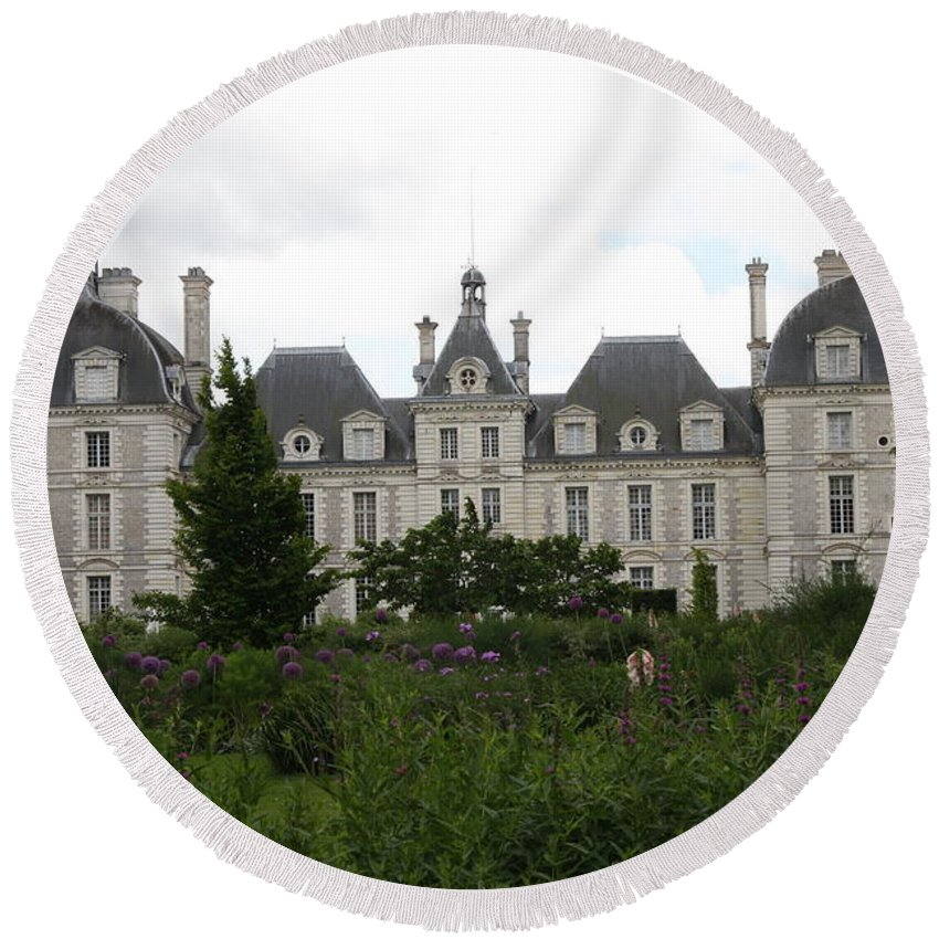 Palace Round Beach Towel featuring the photograph Chateau Cheverney by Christiane Schulze Art And Photography
