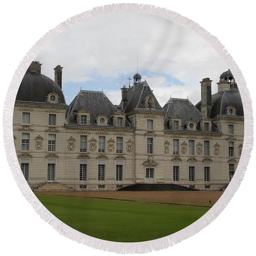 Palace Round Beach Towel featuring the photograph Chateau Cheverney - Front View by Christiane Schulze Art And Photography