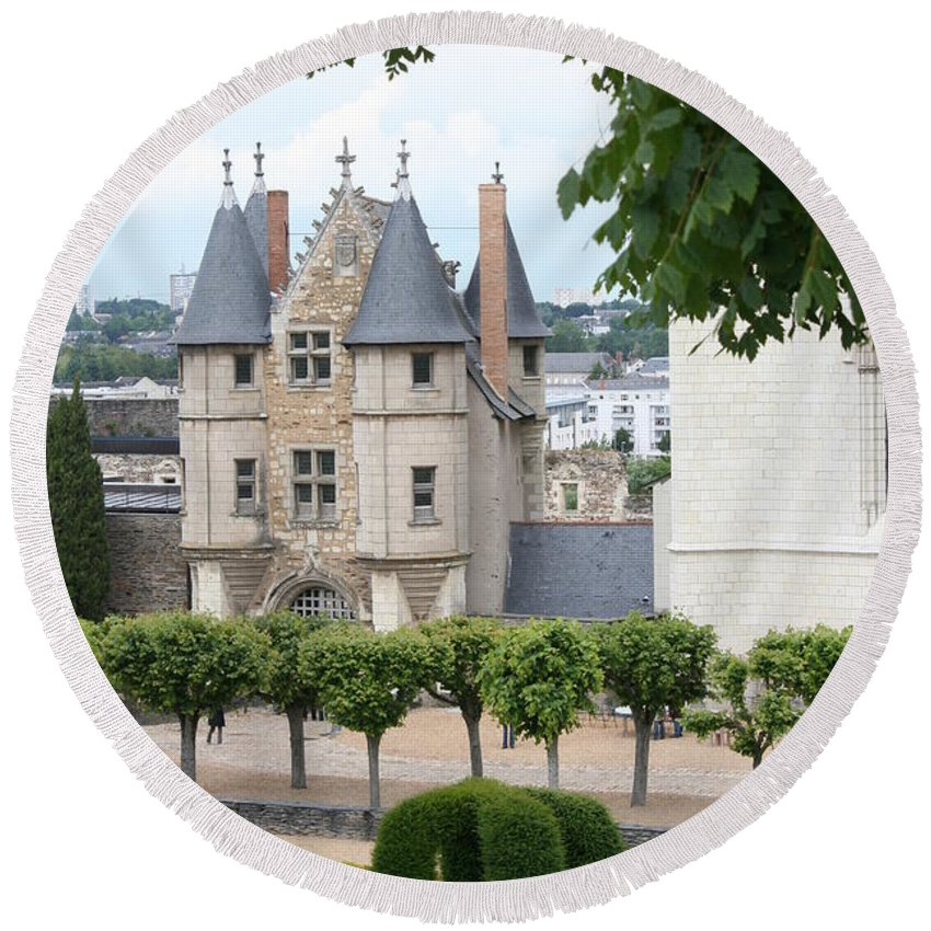 Castle Round Beach Towel featuring the photograph Chateau D'angers - Chatelet View by Christiane Schulze Art And Photography