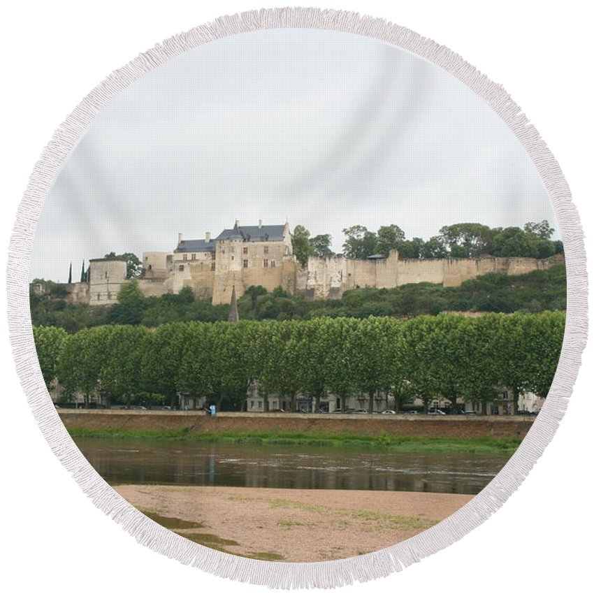 Castle Round Beach Towel featuring the photograph Chateau De Chinon - France by Christiane Schulze Art And Photography
