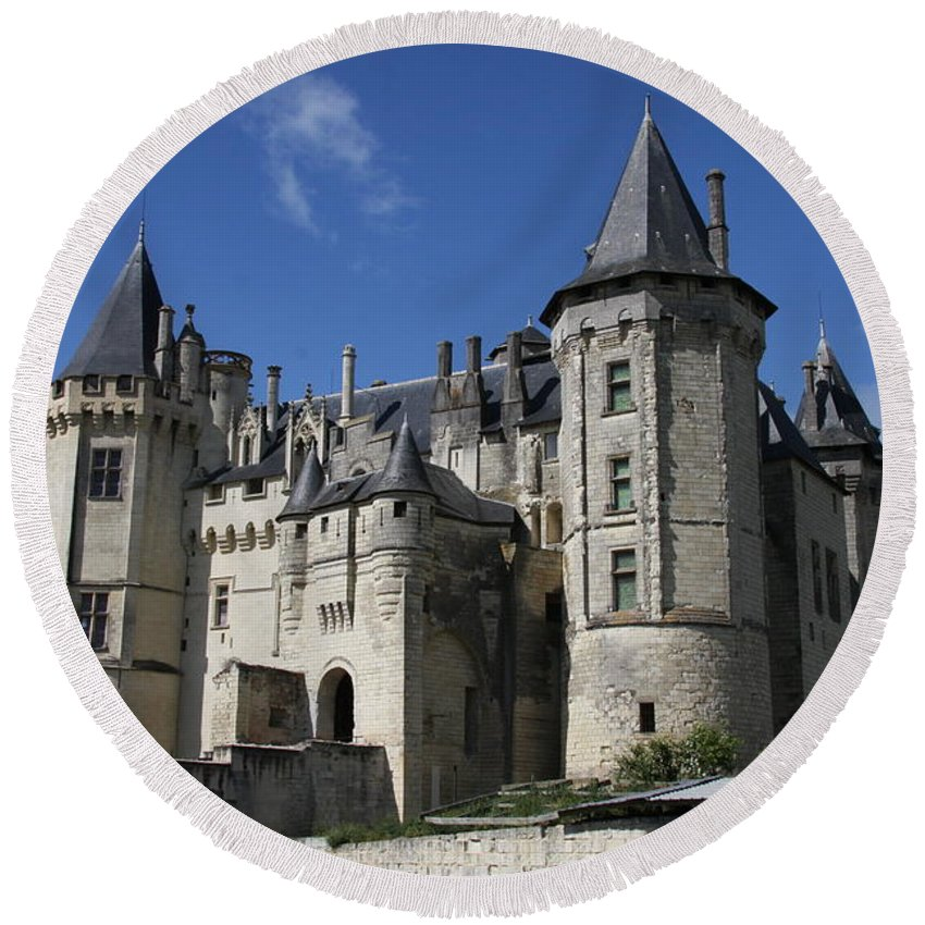 Castle Round Beach Towel featuring the photograph Chateau De Saumur by Christiane Schulze Art And Photography