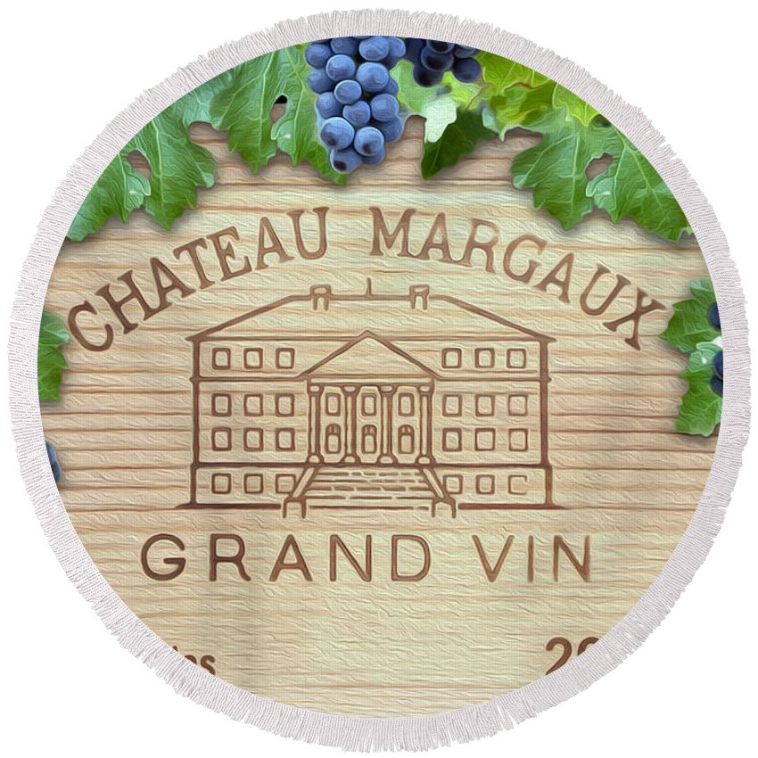 Chateau Margaux Round Beach Towel featuring the photograph Chateau Margaux by Jon Neidert