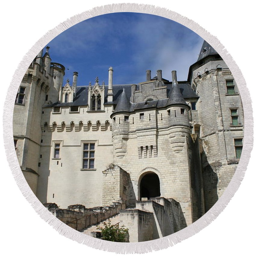 Castle Round Beach Towel featuring the photograph Chateau Saumur by Christiane Schulze Art And Photography