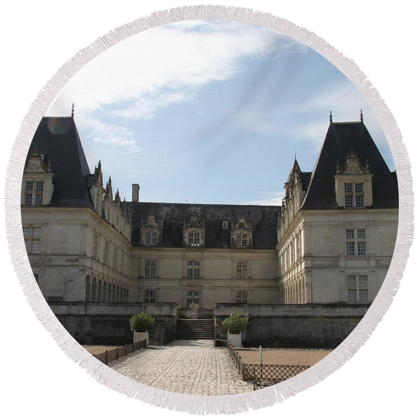 Palace Round Beach Towel featuring the photograph Chateau Villandry by Christiane Schulze Art And Photography